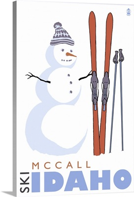 McCall, Idaho - Snowman with Skis: Retro Travel Poster
