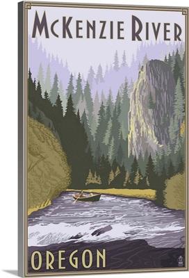 McKenzie River, Oregon Scene: Retro Travel Poster