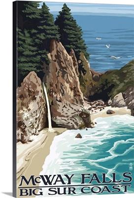 McWay Falls - Big Sur Coast, California: Retro Travel Poster