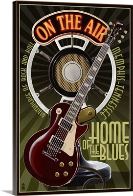 Memphis, Tennessee - Guitar and Microphone: Retro Travel Poster