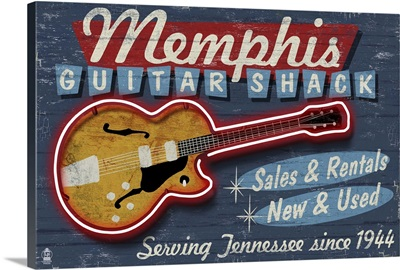 Memphis, Tennessee - Guitar Shack Vintage Sign: Retro Travel Poster
