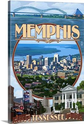 Memphis, Tennessee - Memphis Montage: Retro Travel Poster