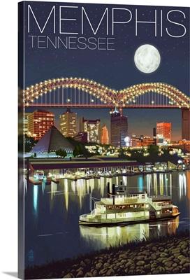 Memphis, Tennessee - Memphis Skyline at Night: Retro Travel Poster