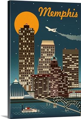 Memphis, Tennessee - Retro Skyline: Retro Travel Poster