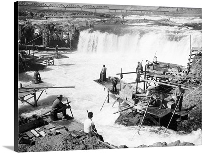 Men fishing at Celilo Falls, Columbia River, OR