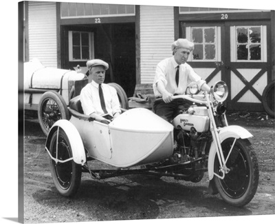 Men on Harley Davidson Motorcycle with Sidecar, Indianapolis, IN