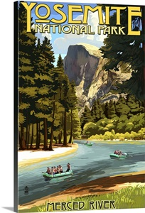 Merced River Rafting Yosemite National Park California Retro Travel Poster Wall Art Canvas