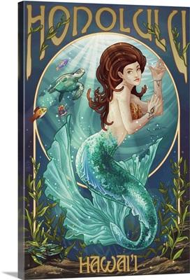 Mermaid - Honolulu, Hawaii: Retro Travel Poster