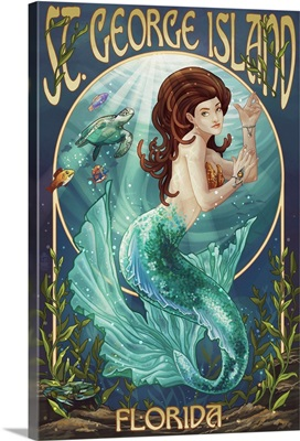 Mermaid - St. George Island, Florida: Retro Travel Poster
