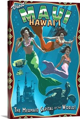 Mermaid Vintage Sign - Maui, Hawaii: Retro Travel Poster