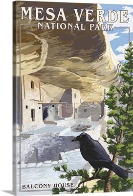 Mesa Verde National Park, Colorado - Balcony House: Retro Travel Poster