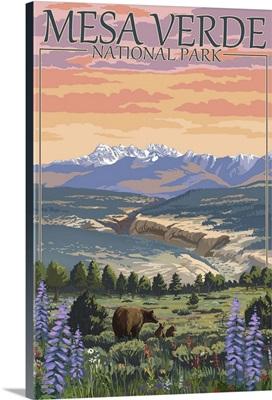 Mesa Verde National Park, Colorado - Bear Family and Flowers: Retro Travel Poster