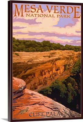 Mesa Verde National Park, Colorado - Cliff Palace at Sunset: Retro Travel Poster