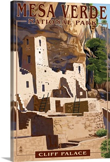 Mesa Verde National Park, Colorado - Cliff Palace: Retro Travel Poster