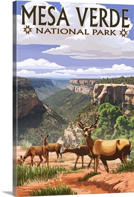 Mesa Verde National Park, Colorado - Deer Family: Retro Travel Poster