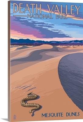 Mesquite Dunes - Death Valley National Park: Retro Travel Poster
