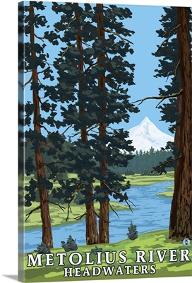Metolius River Headwaters, Oregon: Retro Travel Poster