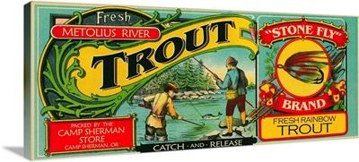 Metolius River, Oregon Trout Can Label: Retro Travel Poster