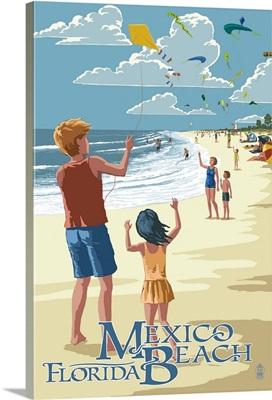 Mexico Beach, Florida - Kite Flyers and Beach: Retro Travel Poster