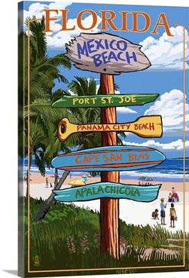 Mexico Beach, Florida - Sign Destinations: Retro Travel Poster