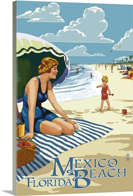 Mexico Beach, Florida - Woman and Beach Scene: Retro Travel Poster