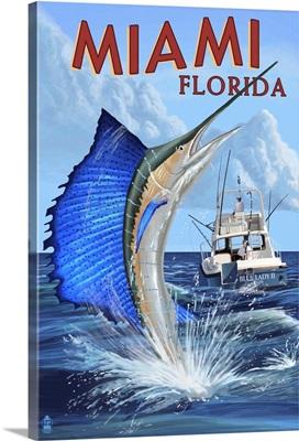 Miami, Florida - Deep Sea Fishing: Retro Travel Poster