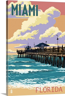 Miami, Florida - Fishing Pier and Sunset: Retro Travel Poster