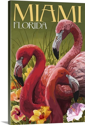 Miami, Florida - Flamingos: Retro Travel Poster