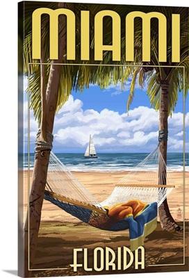 Miami, Florida - Palms and Hammock: Retro Travel Poster