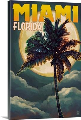 Miami, Florida - Palms and Moon: Retro Travel Poster