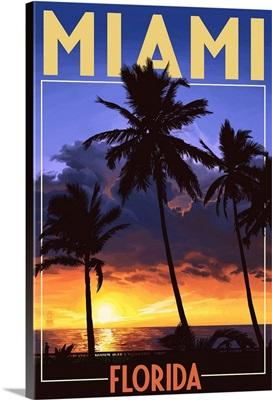 Miami, Florida - Palms and Sunset: Retro Travel Poster