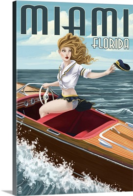 Miami, Florida - Pinup Girl Boating: Retro Travel Poster