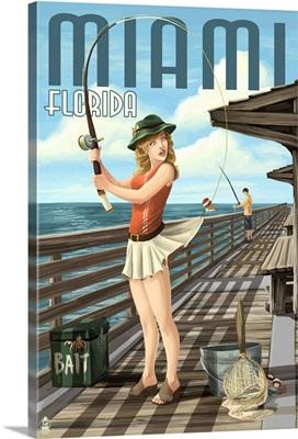 Miami, Florida - Pinup Girl Fishing: Retro Travel Poster
