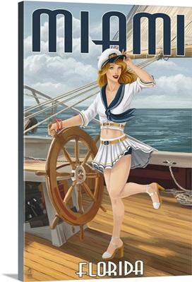Miami, Florida - Pinup Girl Sailing: Retro Travel Poster