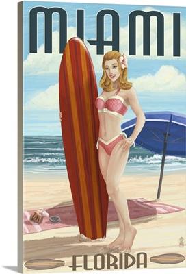 Miami, Florida - Pinup Girl Surfer: Retro Travel Poster