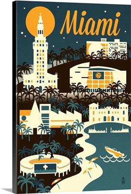Miami, Florida Retro Skyline