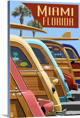 Miami, Florida - Woodies Lined Up: Retro Travel Poster