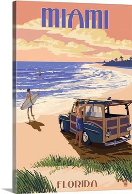 Miami, Florida - Woody On The Beach: Retro Travel Poster