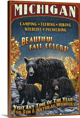 Michigan - Black Bears and Fall Colors Vintage Sign: Retro Travel Poster