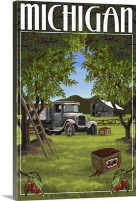 Michigan - Cherry Orchard Harvest: Retro Travel Poster