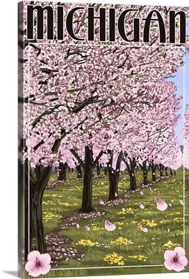 Michigan - Cherry Orchard in Blossom: Retro Travel Poster