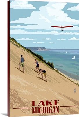 Michigan - Dunes: Retro Travel Poster