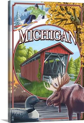 Michigan - Michigan Scene Montage: Retro Travel Poster