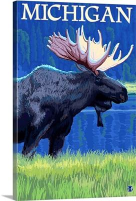 Michigan - Moose at Night: Retro Travel Poster