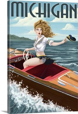 Michigan - Pinup Girl Boating: Retro Travel Poster
