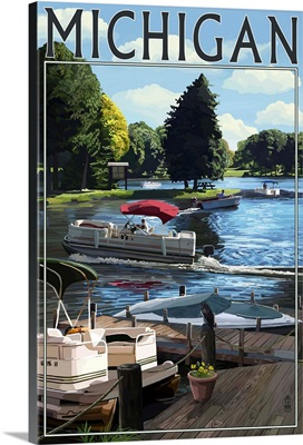 Michigan - Pontoon Boats: Retro Travel Poster
