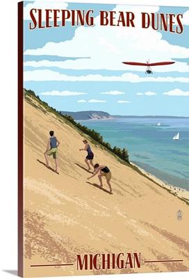 Michigan - Sleeping Bear Dunes: Retro Travel Poster