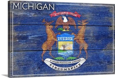 Michigan State Flag, Barnwood Painting