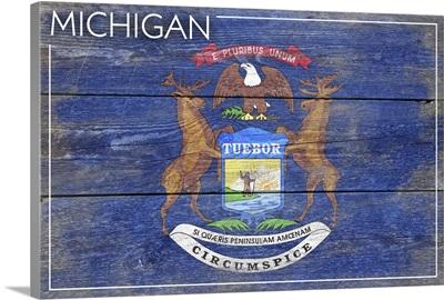Michigan State Flag on Wood