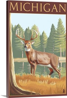 Michigan - White Tailed Deer: Retro Travel Poster